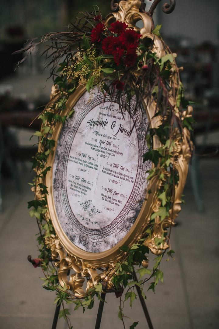 Table Seating Chart Gothic Dark Elegance West Coast Weddings Magazine