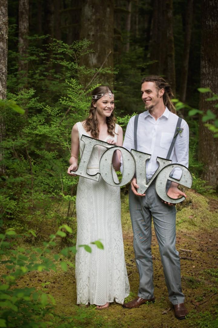 Love sign River romance West Coast Weddings MagazineNew Leaf Photography