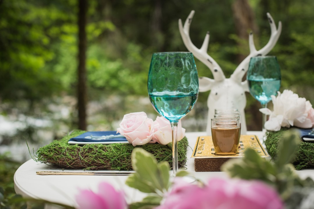 Antler on Sweetheart Table in Forest River Romance Vancouver Island Wedding Magazine