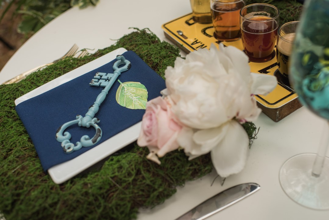 Sweetheart Table Place Setting with Vintage Key River Romance Vancouver Island