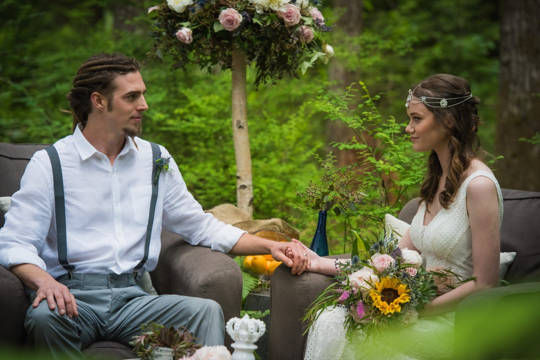 Couple in Forest River Romance Vancouver Island Wedding