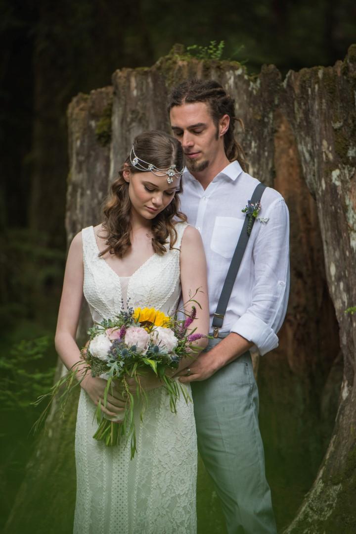 Newlyweds in Boho River Romance West Coast Weddings Magazine