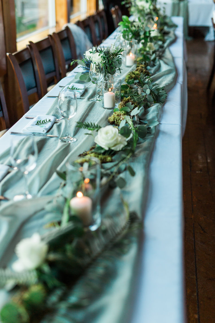 Greenery on Reception Tables Marnie & Drew Eco Friendly Inspired Wedding by Jennifer Picard Photography