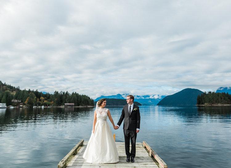 Newlyweds on Marine Dock Marnie & Drew Eco Friendly Inspired Wedding by Jennifer Picard Photography