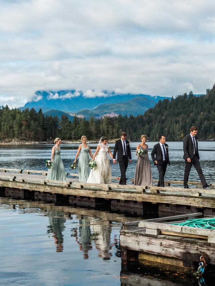 Wedding Party on Marine Dock Marnie & Drew Eco Friendly Inspired Wedding by Jennifer Picard Photography