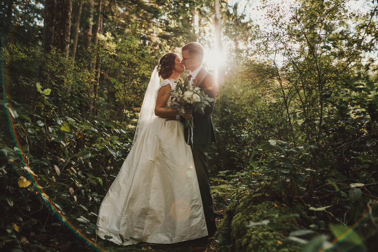 Newlyweds in Forest Marnie & Drew Eco Friendly Inspired Wedding by Jennifer Picard Photography