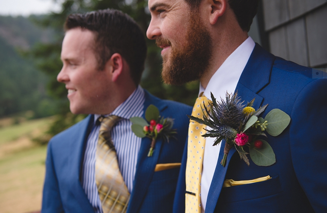 boutonniere stylish groom in blue suit west coast weddings magazine