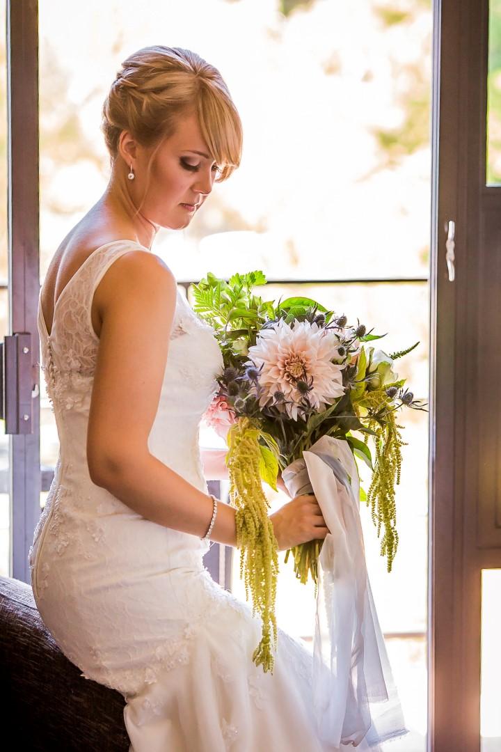 Bride with Bouquet Suns Golden Kiss West Coast Weddings Magazine