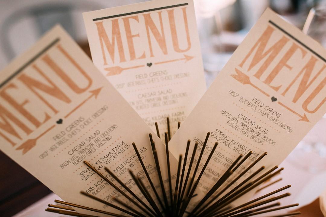Menu Cards Gold Emboss on Cream PaperSuns Golden Kiss West Coast Weddings Magazine