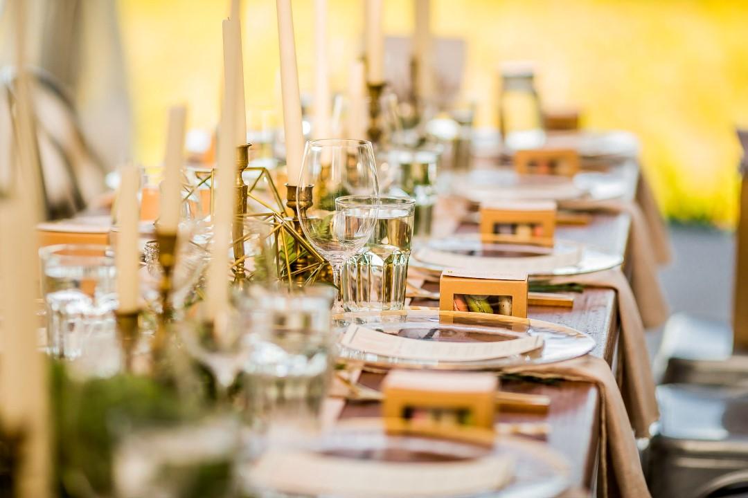 Place Settings at ReceptionSuns Golden Kiss West Coast Weddings Magazine