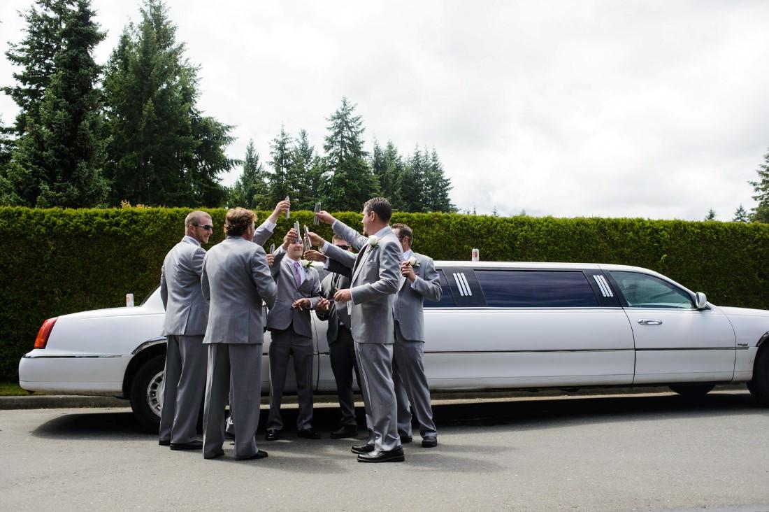 Groomsmen in limo Crown Isle Love Story on Vancouver Island