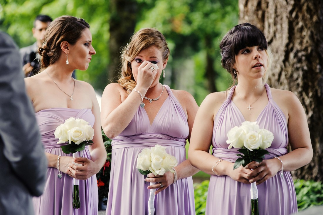 Bridesmaids in blush purple gowns Crown Isle Love Story