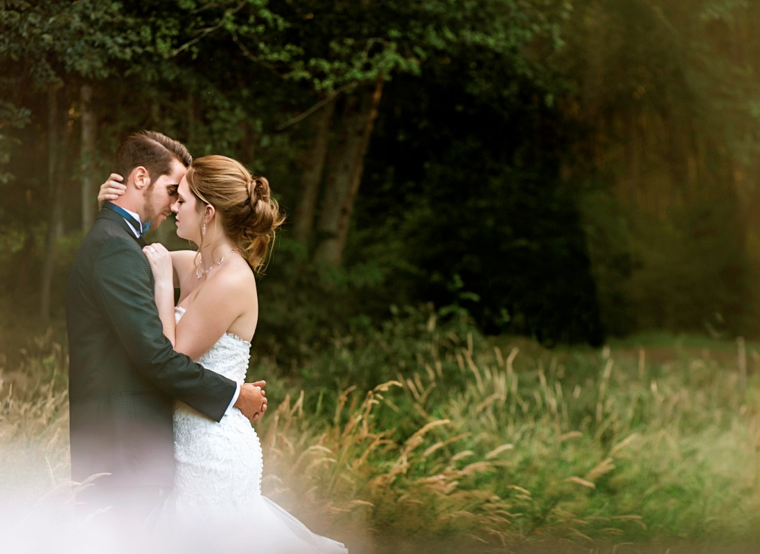Newlyweds at a A sublime wet coast wedding