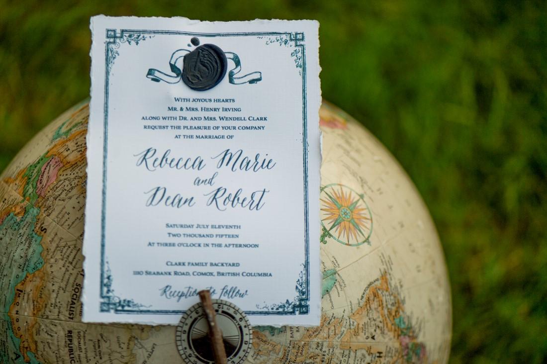 Invite at aA sublime wet coast wedding