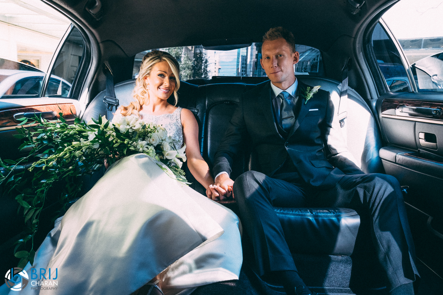 Relaxing in the limo at styled session Vancouver Wedding Magazine