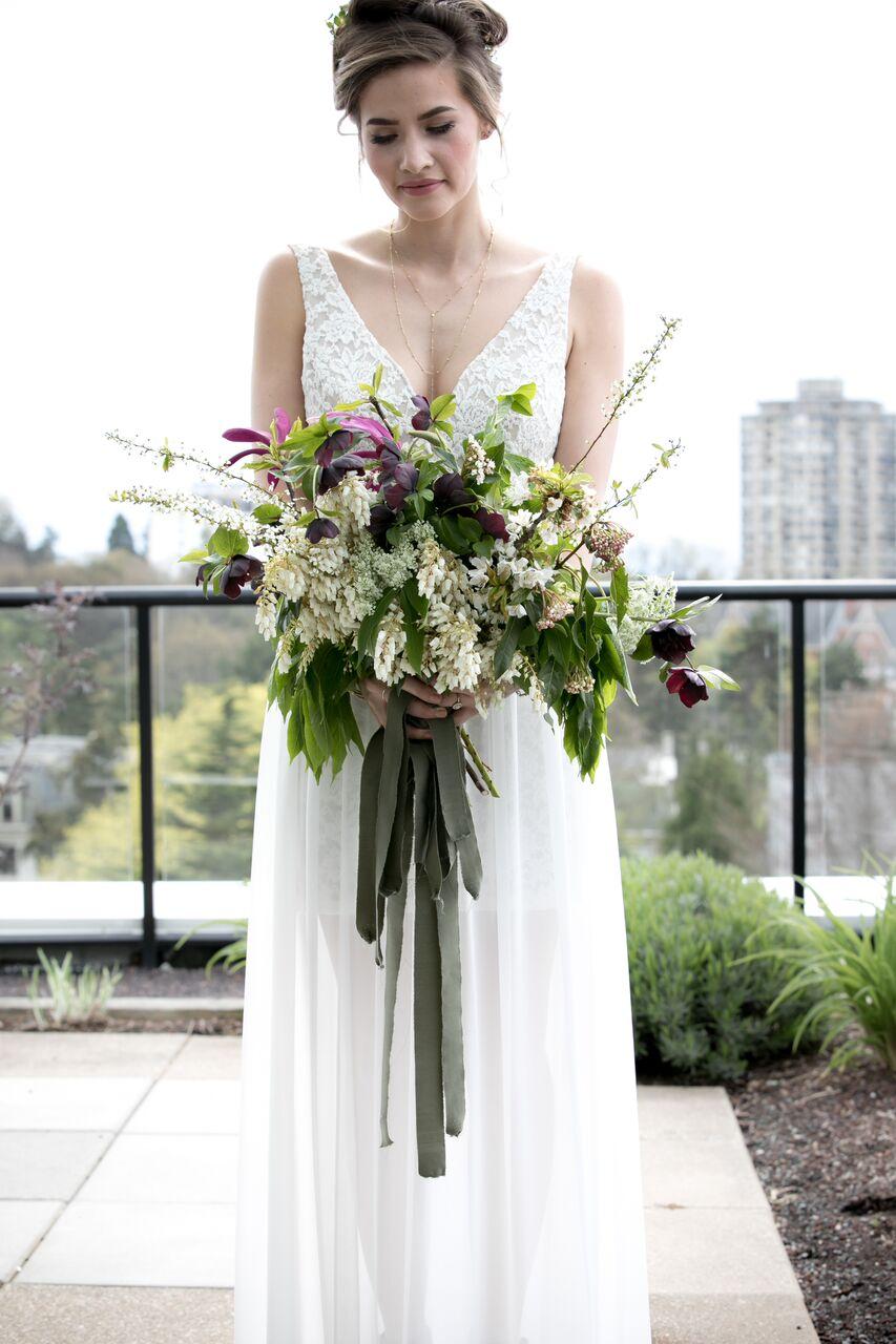 Green Bouquet Eco Chic Wedding with Stylish Foraged Greenery Details West Coast Weddings Magazine