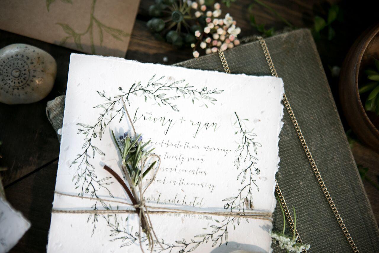 Invitations Eco Chic Wedding with Stylish Foraged Greenery Details West Coast Weddings Magazine