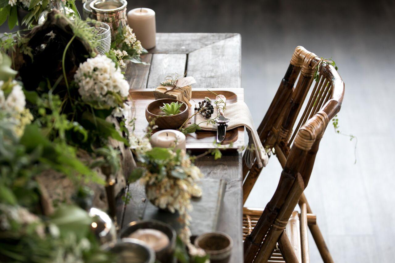 Simple Decor Eco Chic Wedding with Stylish Foraged Greenery Details West Coast Weddings Magazine