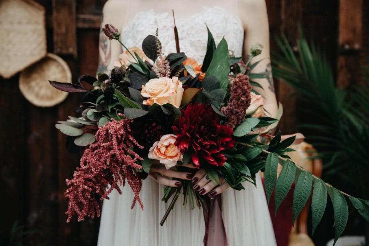 Burgandy Dahlia Bridal Bouquet Inked + Pretty Brides West Coast Weddings Magazine