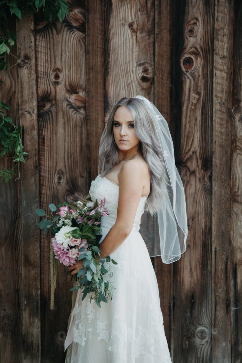 Bride in Short Veil Inked + Pretty Brides West Coast Weddings Magazine