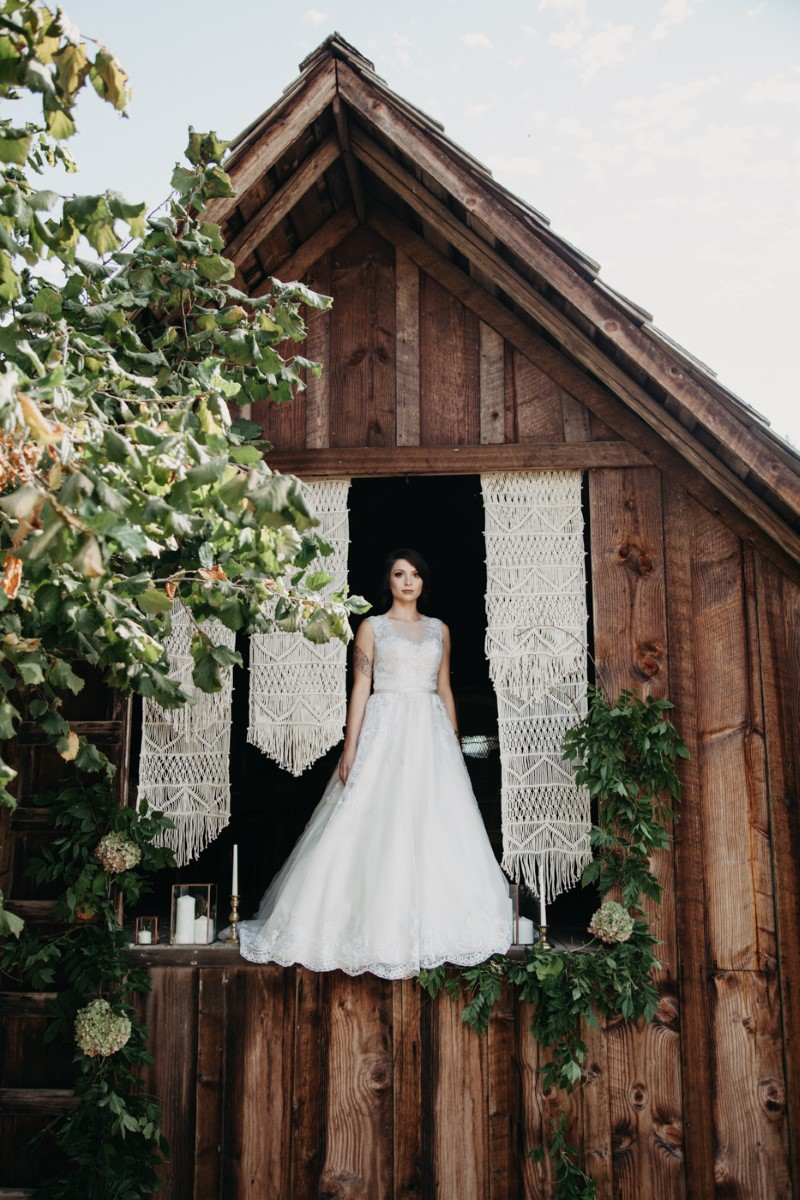 Bride in Inked + Pretty Brides West Coast Weddings Magazine Barn with Macrame