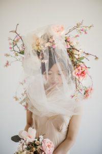 Floral Wreath and Veil Asian Botanical Beauty Maru Photography Deborah Lee Designs West Coast Weddings Magazine