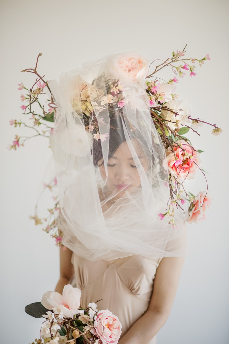 Floral Wreath and Veil Asian Botanical Beauty Maru Photography Deborah Lee Designs West Coast Weddings Magazine