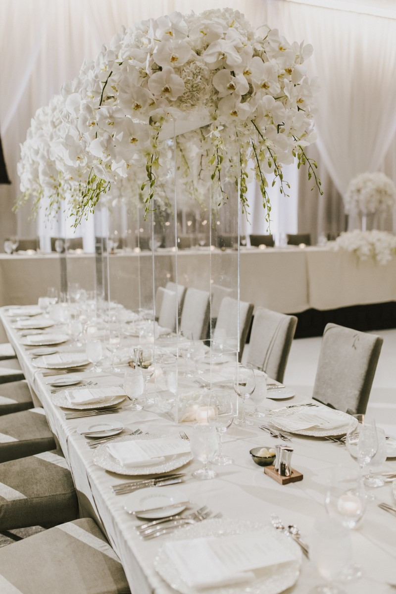 Guest Table White Orchids Kayseeb abd Stevan Silk Sophistication Ophelia Photography Vancouver West Coast Weddings Magazine