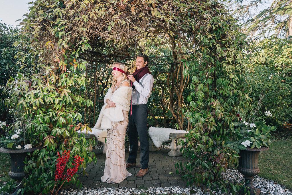 Styled Proposal in Gazebo at Villa Marco Polo Inn Vancouver Island Wedding Magazine