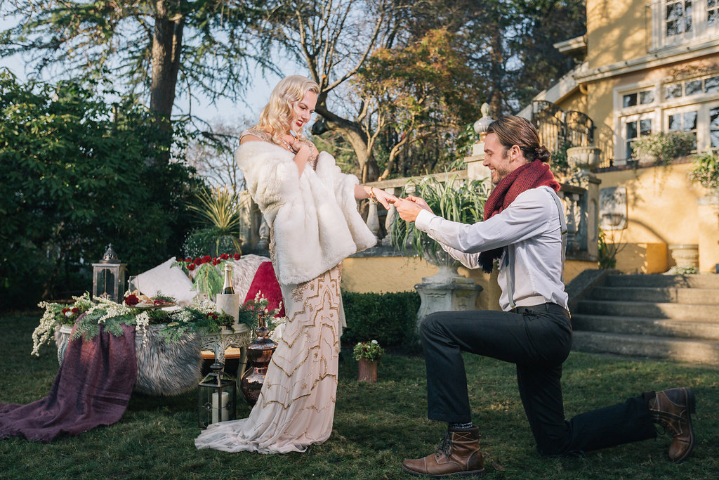 Styled Proposal on Knee at Villa Marco Polo Inn Vancouver Island Wedding Magazine