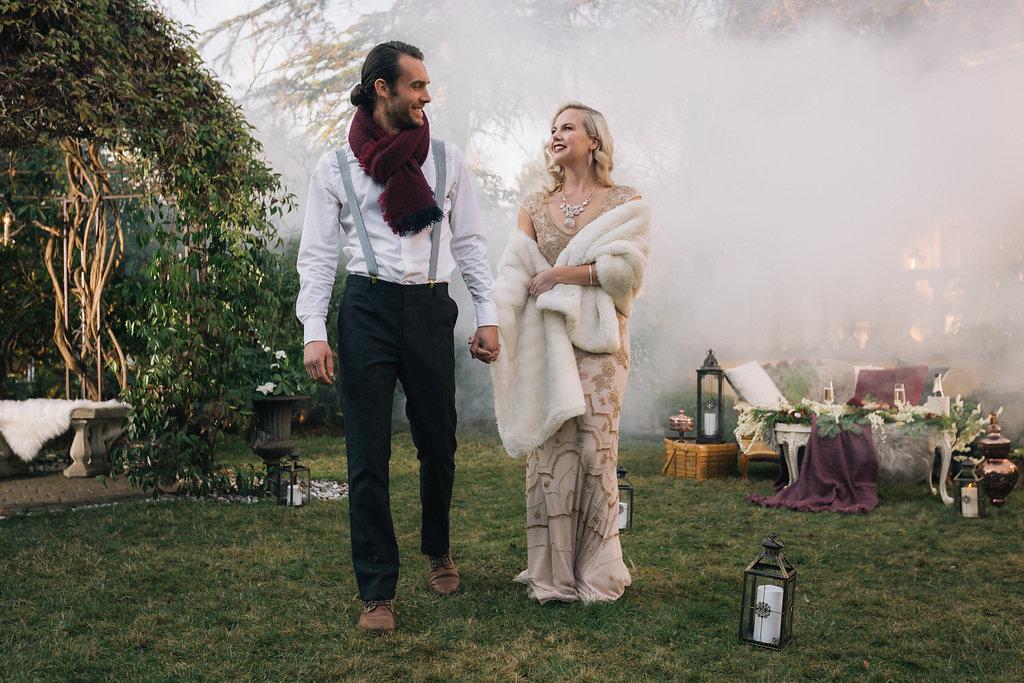 Smoke bomb styled proposal Engaged couple Vancouver Island