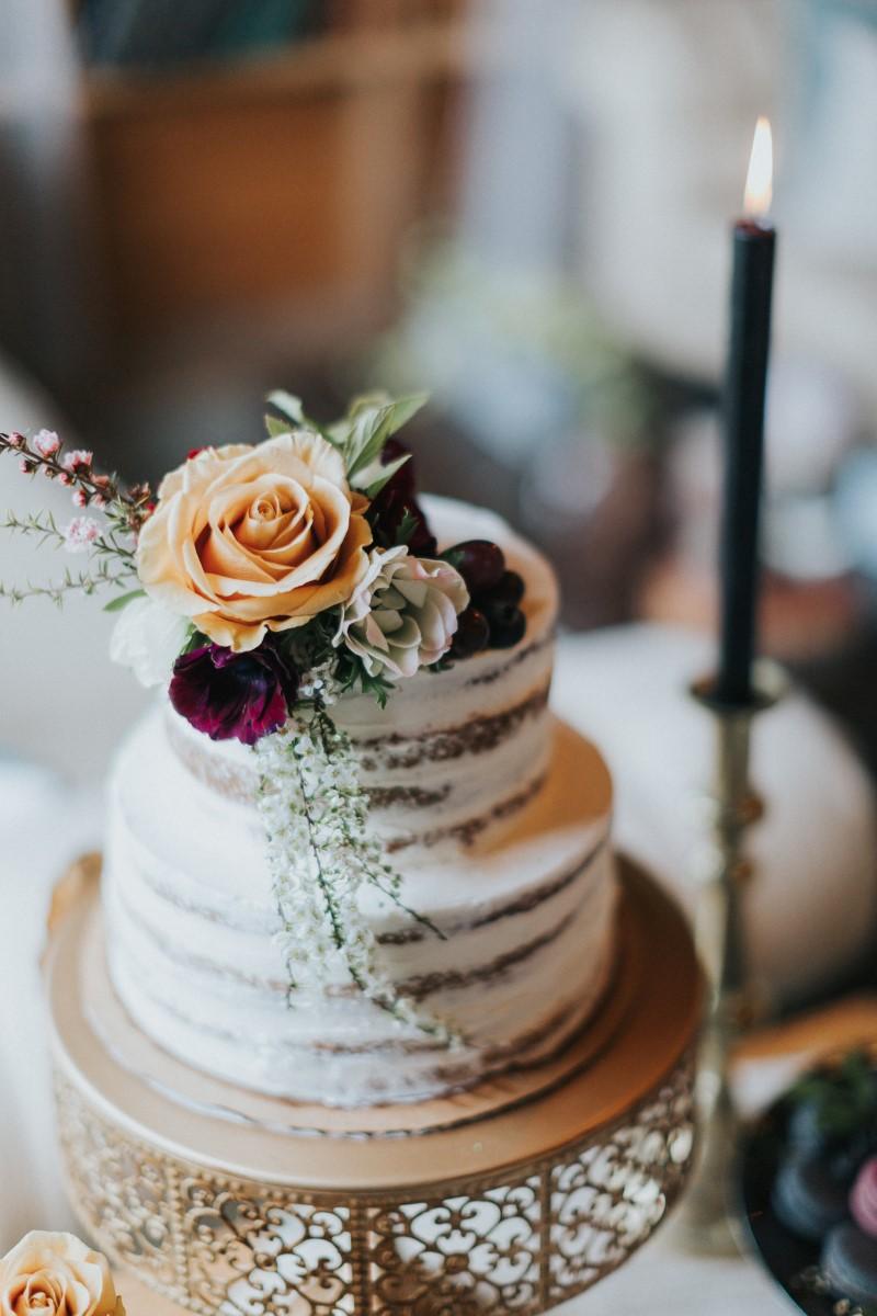 Naked Cake with Flowers Schur to Please Moody Blue Romance Summer Rayne Photo West Coast Weddings Magazine