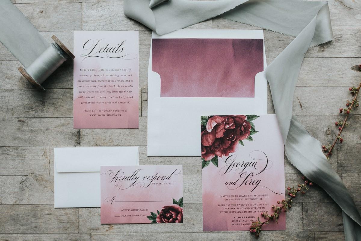 Deep rose invitation suiteMoody Blue Romance Summer Rayne Photo West Coast Weddings Magazine Tickle Tree Invitations