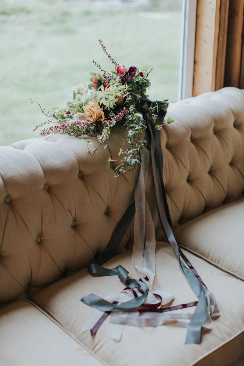 Bouquet with RibbonsMoody Blue Romance Summer Rayne Photo West Coast Weddings Magazine
