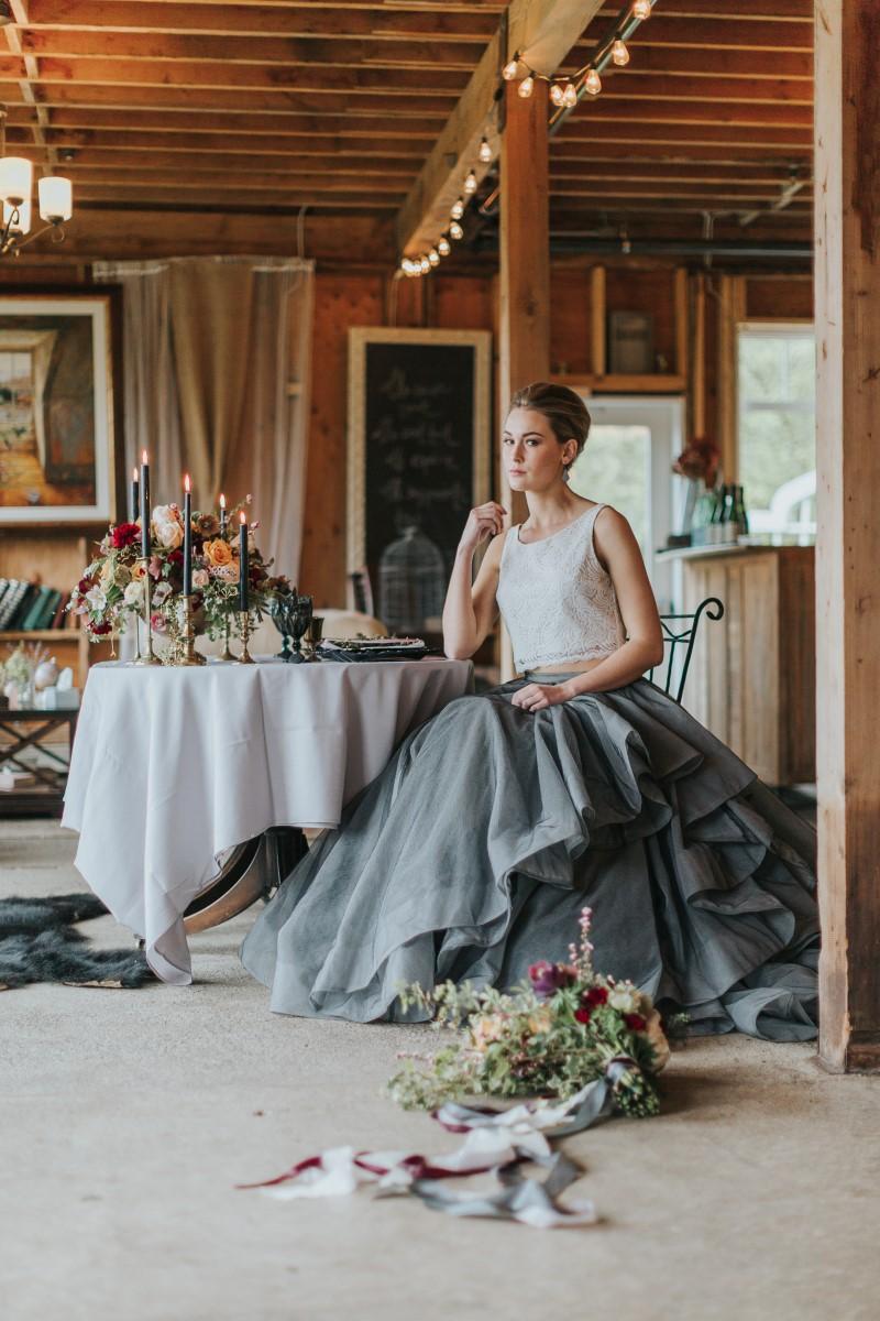 Bride at Table Moody Blue Romance Summer Rayne Photo West Coast Weddings Magazine
