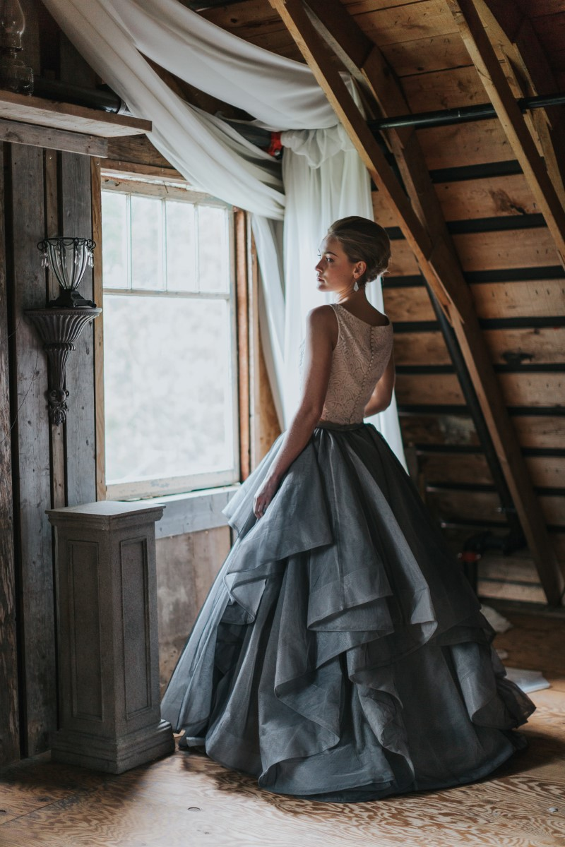 Bride in Pastel Skirt and White Top Moody Blue Romance Summer Rayne Photo West Coast Weddings Magazine