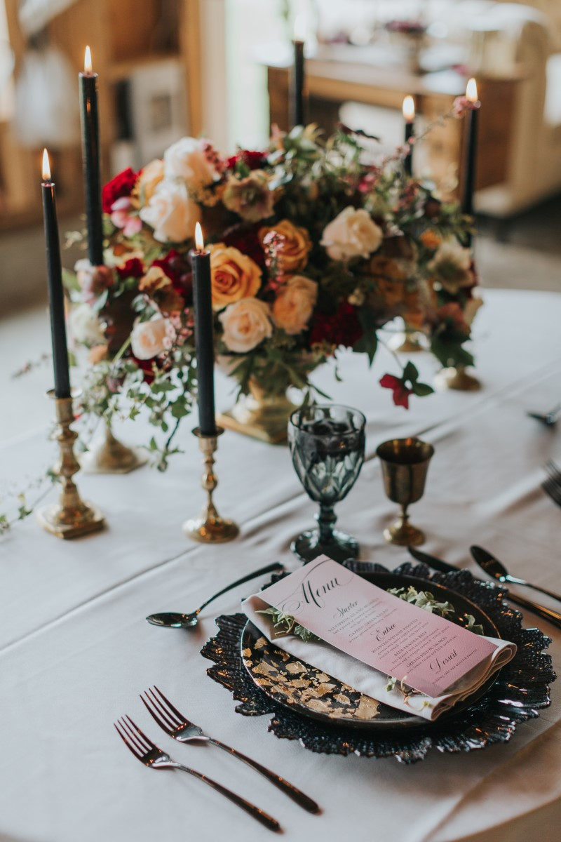 Vintage Table Setting Moody Blue Romance Summer Rayne Photo West Coast Weddings Magazine