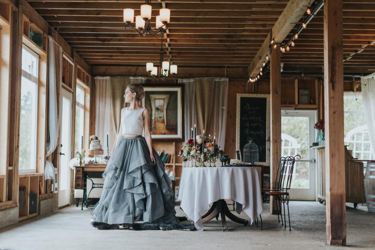 Bride in Farmhouse Moody Blue Romance Summer Rayne Photo West Coast Weddings Magazine