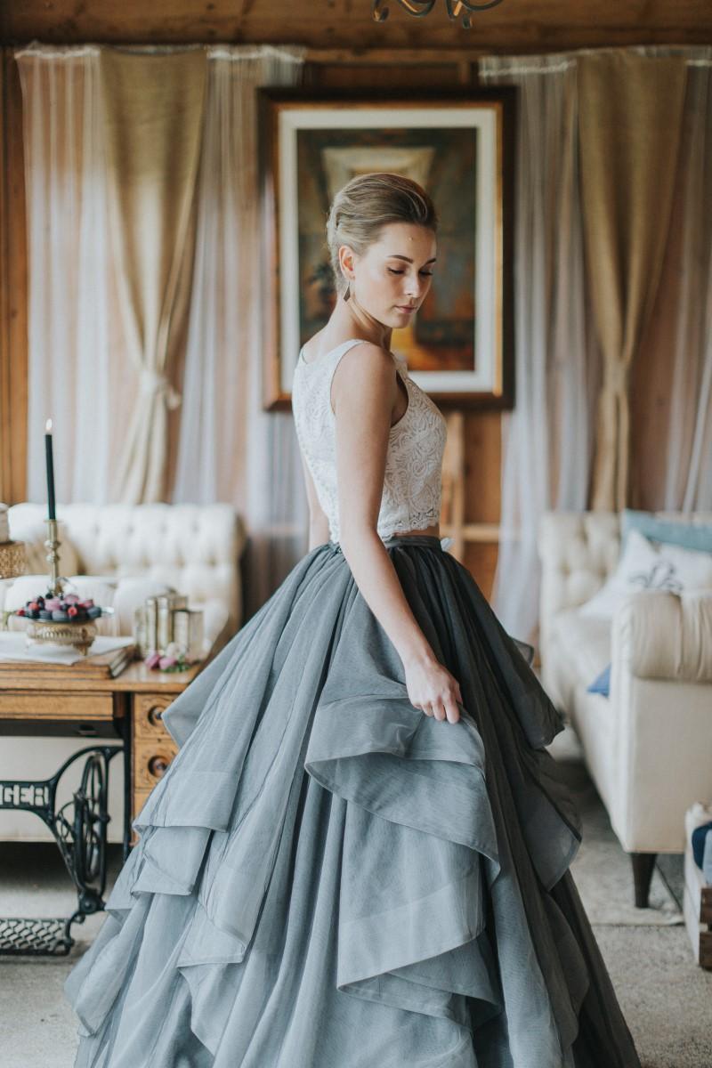 Bride in Skirt Moody Blue Romance Summer Rayne Photo West Coast Weddings Magazine
