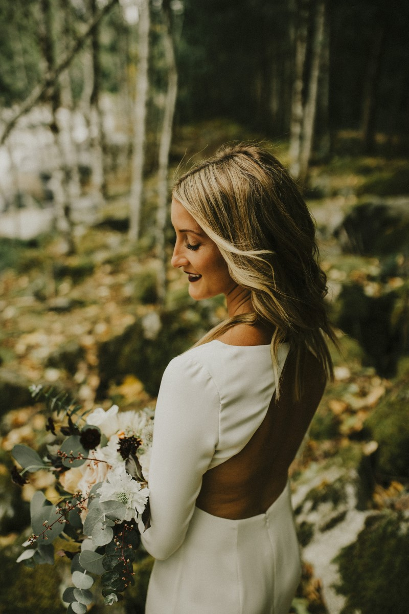 Brides Gown Back Detail Elegant Woodland West Coast Weddings Magazine Vancovuer