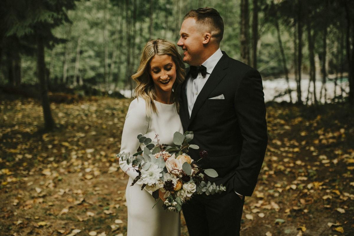Newlyweds in Forest Elegant Woodland West Coast Weddings Magazine Vancovuer