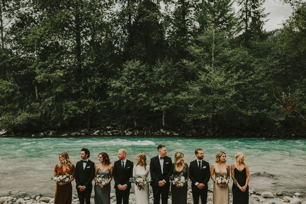 Bridal Party Elegant Woodland West Coast Weddings Magazine Vancovuer
