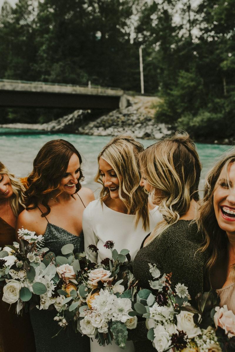 Happy Bridesmaids Elegant Woodland West Coast Weddings Magazine Vancovuer