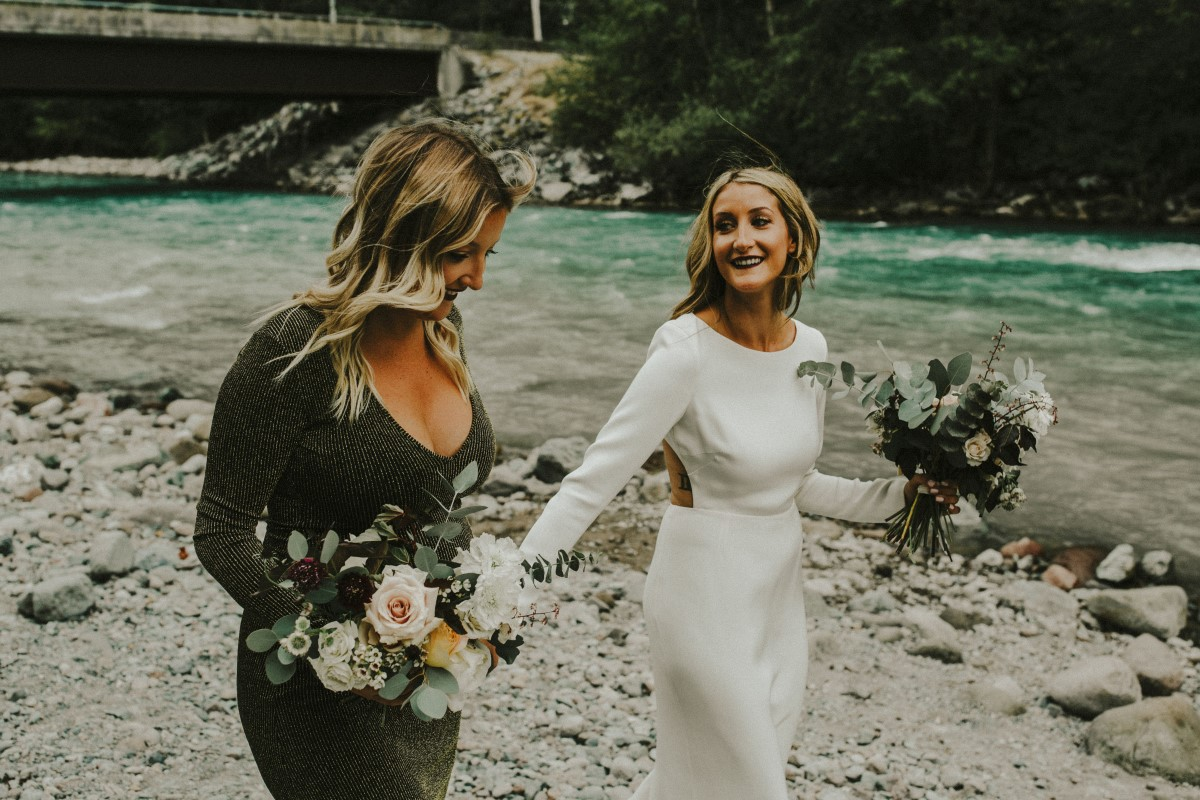 Bride and Maid of Honor Elegant Woodland West Coast Weddings Magazine Vancovuer