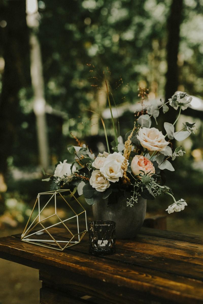 Floral Decor Outdoor Reception Elegant Woodland West Coast Weddings Magazine Vancovuer