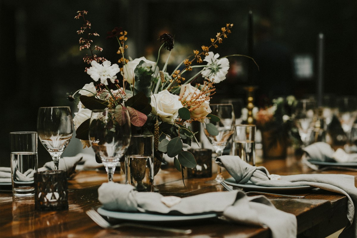 Outdoor Recption Floral on Guest Tables Elegant Woodland West Coast Weddings Magazine Vancovuer