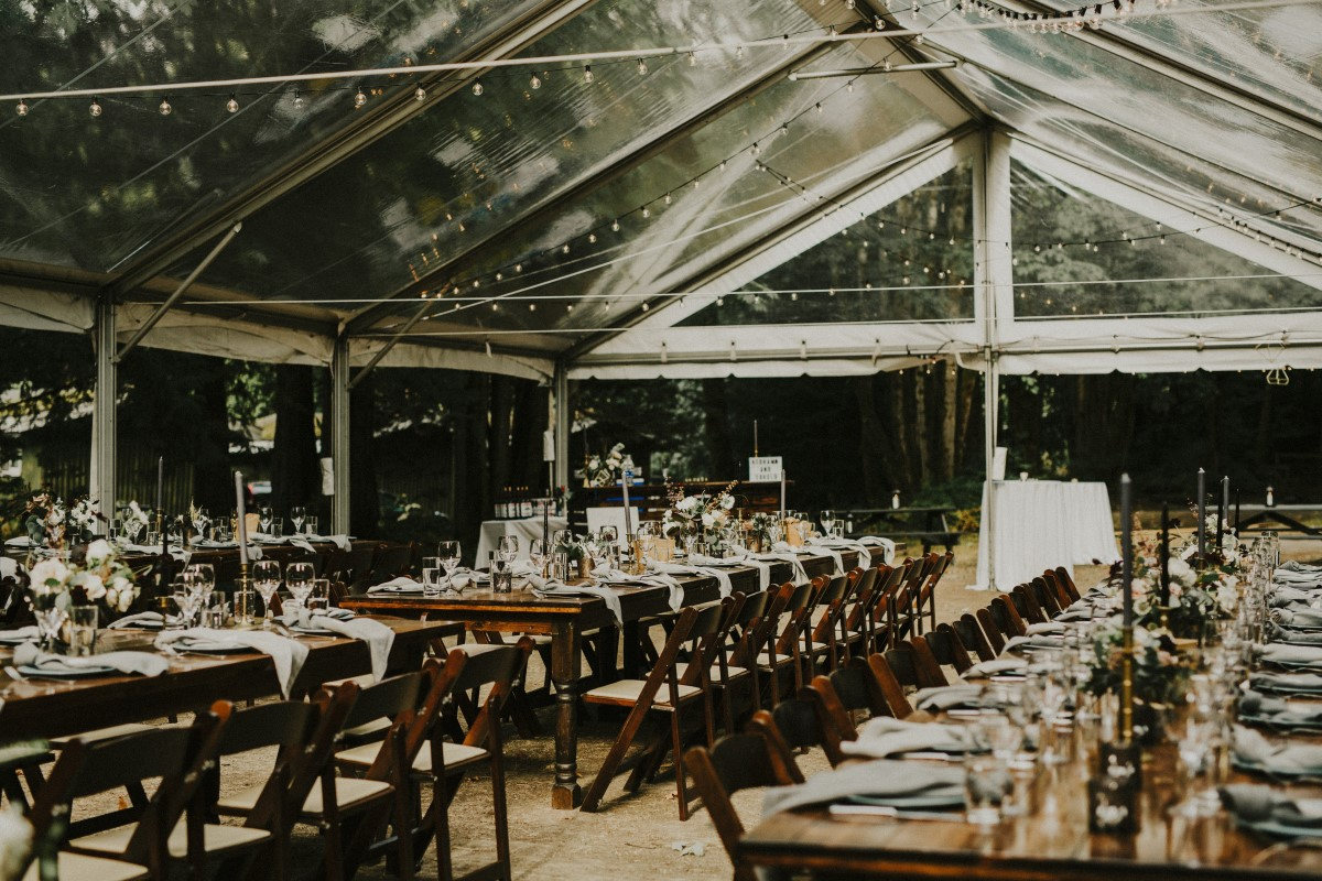 Outdoor Recption Tent Guest Tables Elegant Woodland West Coast Weddings Magazine Vancovuer