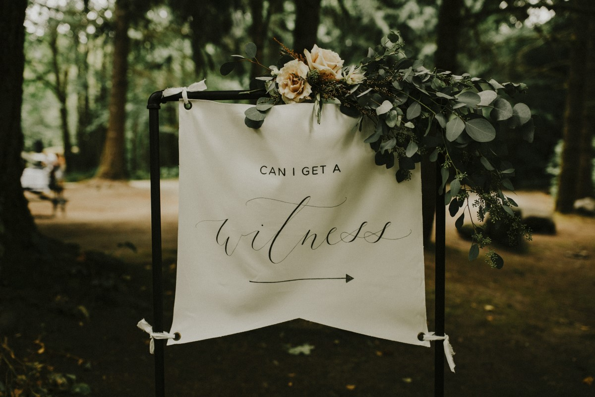 Enchanting Woodland Ceremony Sign West Coast Weddings Magazine The Apartment Photo