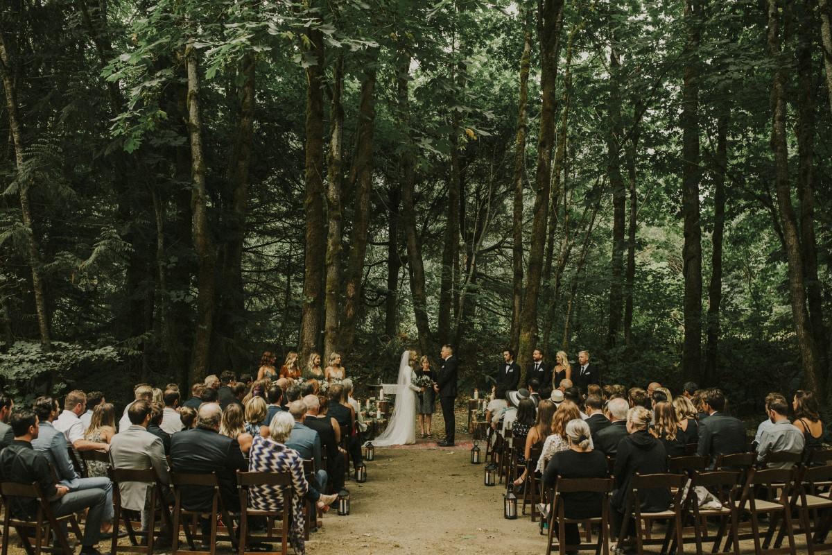 Large forest ceremony Elegant Woodland West Coast Weddings Magazine Vancovuer