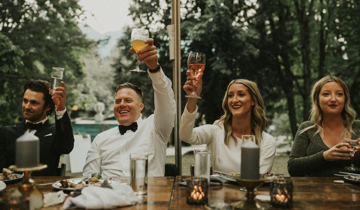 Toasting the Newlyweds Elegant Woodland West Coast Weddings Magazine Vancovuer